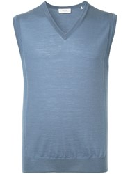 Cerruti 1881 Sleeveless Fitted Sweater Blue