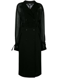 Yang Li Jersey Panelled Trench Coat Women Cotton 40 Black