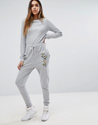 Missguided Embroidered Sweat Jumpsuit Grey