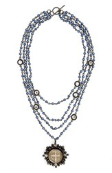 Virgins Saints And Angels San Benito Cluster Magdalena Necklace Dark Blue Pearl Clear