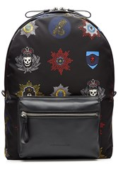Alexander Mcqueen Printed Fabric Backpack With Leather Multicolor