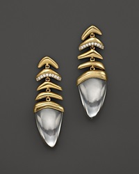 Kara Ross 18K Yellow Gold And Diamond Small Graduating Hydra Earrings With Rock Crystal Gold White