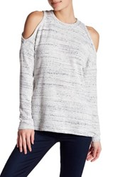 Socialite Cold Shoulder Waffle Knit Shirt White