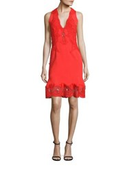 Jonathan Simkhai Lace Applique Drop Waist Dress Red