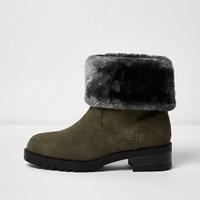 River Island Womens Khaki Green Faux Fur Lined Chunky Boots