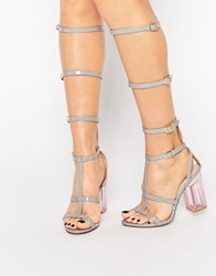 Public Desire Italy Grey Clear Heel Caged Gladiator Heeled Sandal Grey Patent