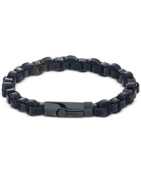 Esquire Men's Jewelry Link Bracelet In Black Leather And Ion Plated Stainless Steel Only At Macy's