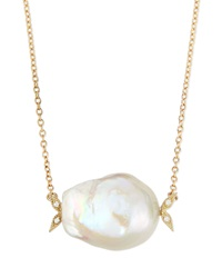 Mizuki 14K Gold Diamond Leaf And White Pearl Necklace