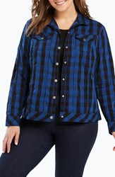 Foxcroft Plus Size Tina Buffalo Plaid Jacket Vintage Blue