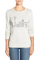 Petite Women's Halogen Embroidered Crewneck Sweater