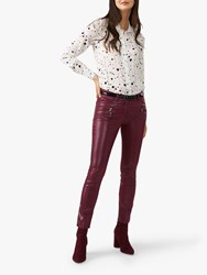 Pure Collection Coated Skinny Jeans Burgundy