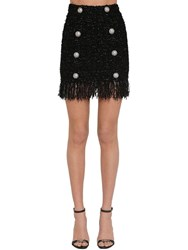 Balmain Fringed Lurex Tweed Mini Skirt Black
