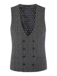 Label Lab Mimosa Skinny Fit Mouline Overcheck Waistcoat Grey