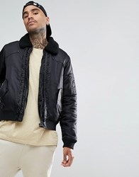Black Kaviar Bomber Jacket In With Borg Collar Black