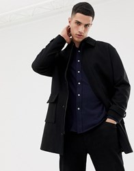 Only And Sons Oversized Wool Overcoat With Patch Pocket Black