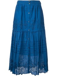 Sea Embroidered Pleated Skirt Women Cotton 10 Blue
