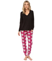 Bedhead French Terry Long Sleeve Hoodie And Jogger Pants Set Lotus Land Women's Pajama Sets Black
