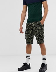 Solid Cargo Short Camo Print Green