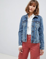Maison Scotch Trucker Jacket With Moon Embroidery 2281 Chili Blauw Blue