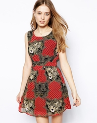 Mela Loves London Dress In Butterfly And Animal Print Red