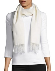 Lord And Taylor Fringed Cashmere Scarf Off White