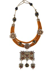 Dsquared2 Floral Pendant Necklace Yellow And Orange