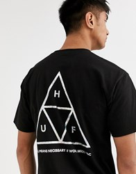 Huf Hologram T Shirt With Holographic Back Print In Black