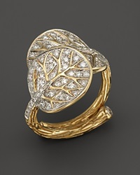 Michael Aram 18K Yellow Gold Botanical Double Leaf Ring With Diamond Pave Gold White
