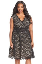 Plus Size Women's London Times Shirred Waist Cap Sleeve Lace Fit And Flare Dress Black Nude