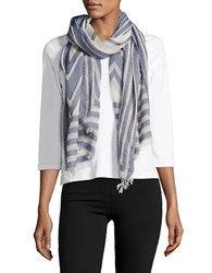 Collection 18 Geometric Printed Cotton Blend Scarf Blue