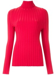Gloria Coelho High Neck Ribbed Top Red