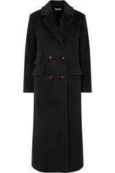 Ganni Mayer Double Breasted Leather Trimmed Wool Coat Black