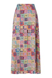 James Lakeland Long Print Skirt Pink