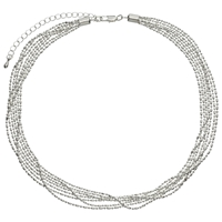 John Lewis Layered Fine Chain Necklace Silver