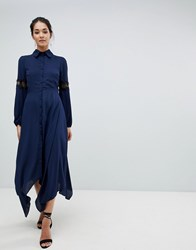 Hope And Ivy Shirt Dress With Lace Inserts Navy