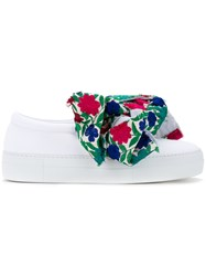 Joshua Sanders Floral Bow Slip On Sneakers Women Cotton 37 White