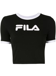 Fila Cropped Logo Print T Shirt Black