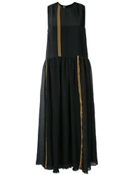 Uma Wang Stripe Panel Dress Women Silk Linen Flax Polyamide Viscose S Black