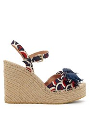 Valentino Scale Print Canvas Twill Espadrille Wedges Blue Multi
