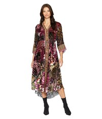 Hale Bob Free Flowing Silk Rayon Velvet Burnout Silvana Dress Burgundy