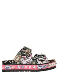 Alexander Mcqueen 50Mm Flower Print Leather Wedge Sandals
