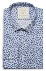 Strong Suit By Ilaria Urbinati Edmond Slim Fit Feather Print Dress Shirt Blue Feathers