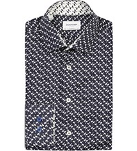 Duchamp Geometric Print Tailored Fit Cotton Blend Shirt Navy