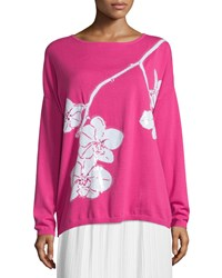 Joan Vass Sequined Orchid Intarsia Sweater Petite Azalea White