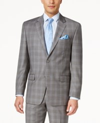 Shaquille O'neal Collection Shaquille O'neill Collection Men's Classic Fit Blue And Grey Glen Plaid Jacket Only At Macy's Grey Blue