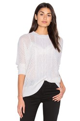 Enza Costa Oversize Basketweave Crew Neck Sweater White