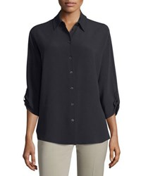 Michael Kors 3 4 Sleeve Button Front Blouse Black