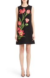Women's Dolce And Gabbana Embroidered Tulip Stretch Wool Shift Dress