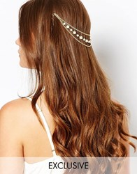 Designsix Faux Pearl And Chain Headband Gold