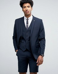 Farah Skinny Suit Jacket In Navy Navy